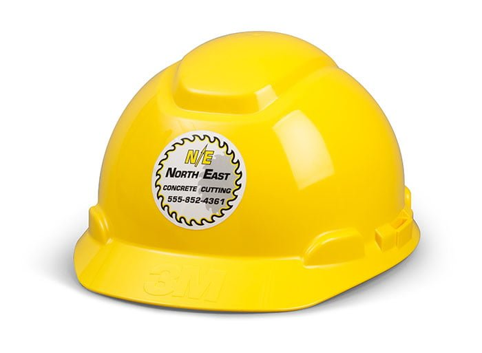 Hard hat label printing