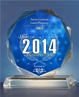 nova custom label printing award